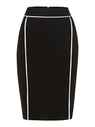 Episode Knee Length Skirt With Contrast Piping Black