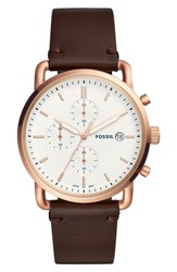 Fossil The Commuter Chronograph Leather Strap Watch 42Mm Brown White Rose Gold