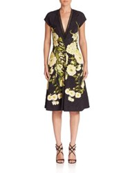 Naeem Khan Floral Printed Dress Black Yellow