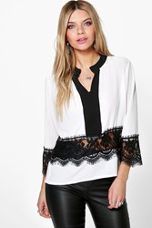 Boohoo Crochet Trim Contrast Collar Edge Shirt White