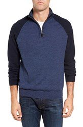Tailor Vintage Men's Raglan Quarter Zip Sweater Denim