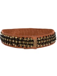 Alberta Ferretti Beaded Woven Belt Brown