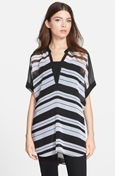 Trouve Short Sleeve Sheer Tunic Top White Black Bold Stripe