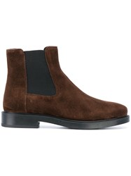 Tod's Ankle Boots Leather Suede Rubber 38.5 Brown