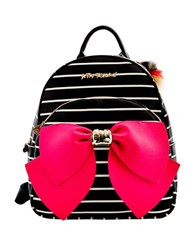 Betsey Johnson Striped Bow Backpack Black Stripe