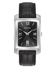 Bulova Classic Stainless Steel Leather Strap Watch Black