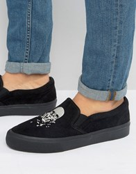 Asos Slip On Plimsolls In Black Faux Suede With Skull Embroidery Black