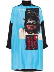Yohji Yamamoto Portrait And Text Print Shirt Blue