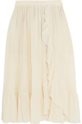 Michael Kors Collection Ruffled Crinkled Cotton Skirt Cream
