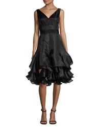 Nue By Shani Tiered Fit And Flare Silk Dress Black