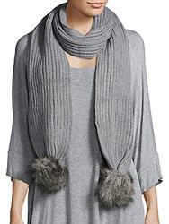 Calvin Klein Faux Fur Knit Scarf Heathered Grey