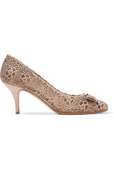 Salvatore Ferragamo Carla Embellished Perforated Leather Pumps Beige