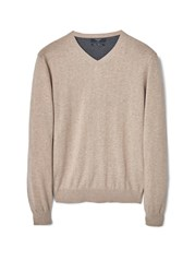 Mango Ten Cotton Cashmere Blend Sweater Beige