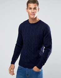 Tommy Hilfiger Jumper With Cable Knit In Navy 08878A1681