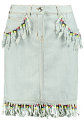 Love Moschino Bead Embellished Fringed Denim Skirt Blue