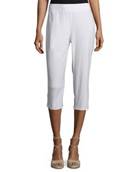 Eileen Fisher Slim Crepe Capri Pants White Petite Women's