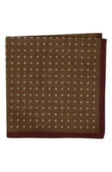 Ted Baker Men's London Paisley Dot Double Sided Wool Pocket Square Gold