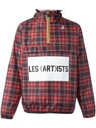 K Way Les Art Ists Checked Windbreaker Red