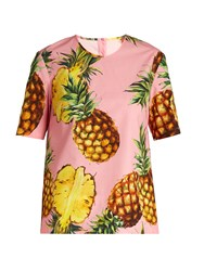 Dolce And Gabbana Pineapple Print Cotton Poplin Top Pink Multi
