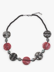 One Button Marble Disc Necklace Grey Wine