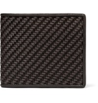Ermenegildo Zegna Pelle Tessuta Leather Billfold Wallet Dark Brown