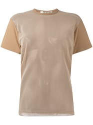 Comme Des Garcons Junya Watanabe Mesh Sleeve T Shirt Women Nylon Polyester Polyurethane S Nude Neutrals
