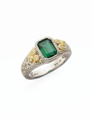 Judith Ripka Estate Green Quartz White Sapphire And Sterling Silver Cushion Ring Multi