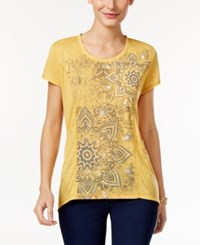 Styleandco. Style Co. Petite Floral Graphic T Shirt Only At Macy's Mustard