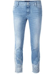 Ermanno Scervino Lace Inserts Cropped Jeans Blue