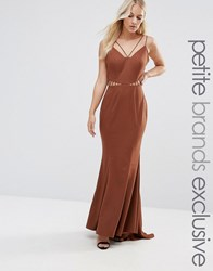 Jarlo Petite Strappy Maxi Dress With Waist Cutout Detail Chocolate Brown