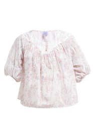 Thierry Colson Theda Floral Print Cotton Blouse Pink Multi