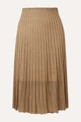 Vince Pleated Metallic Crochet Knit Midi Skirt Bronze
