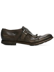 Church's Fringed Buckle Loafers Men Leather Rubber 7.5 Green
