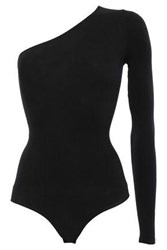 Commando Woman One Shoulder Stretch Jersey Bodysuit Black