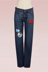 Kenzo Cotton Straight Jean With Patches Navy Blue