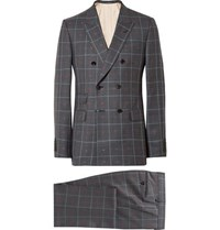 Gucci Grey Slim Fit Embroidered Prince Of Wales Checked Wool And Cotton Blend Suit Gray