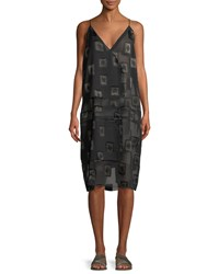 Urban Zen V Neck Block Print Devore Shift Dress Black Brown