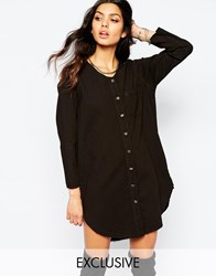 Reclaimed Vintage Button Front Tunic Shirt Dress In Denim Black