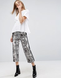 Asos Wide Leg Track Pants In Snake Print Snakeprint Multi