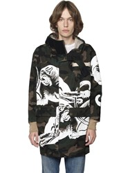 Valentino Panther And Camo Printed Gabardine Parka