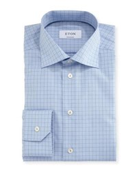 Eton Contemporary Fit Grid Check Dress Shirt Gray Blue