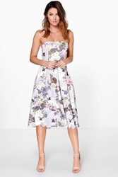 Boohoo Bandeau Floral Midi Skater Dress Multi