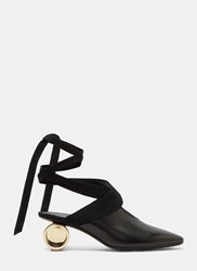 J.W.Anderson Cylinder Heeled Leather Ballerina Shoes Black