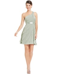 Adrianna Papell One Shoulder Tiered Chiffon Dress Mint