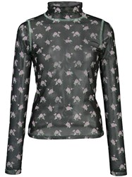 Sandy Liang Promise Floral Print Sheer Top 60