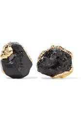 Dara Ettinger Gold Plated Stone Earrings Black