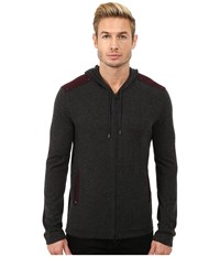 John Varvatos Zip Front Hoodie Sweater With Tonal Rivet Patches Y1189r3b Charcoal Heather Men's Sweater Gray