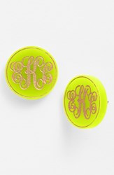 Women's Moon And Lola 'Chelsea' Medium Personalized Monogram Stud Earrings Lime Gold Nordstrom Exclusive