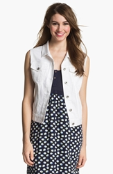 Vince Camuto White Denim Vest Ultra White