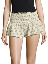 Eberjey Lotus Bloom Meadow Cotton Shorts Natural